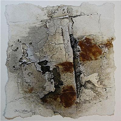 o.T., Baumaterial, Marmormehl, Rost auf Papier, 22 x 22 cm, 2014, verkauft