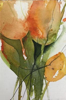 Tulpen (Miniatur), Aquarell auf Hadernbütten, 10 x 15 cm, 2019