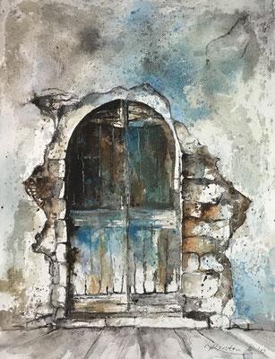 Tür II (Serie alte Türen), Mischtechnik auf Hadernbütten, 38 x 50 cm, 2019, Preis auf Anfrage