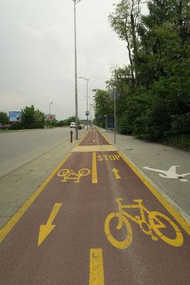 Radwegenetz in Plovdiv (Bulgarien), nur keine Radfahrer