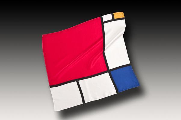 Pañuelo de traje en twill de seda, impresion convencional con moldes
