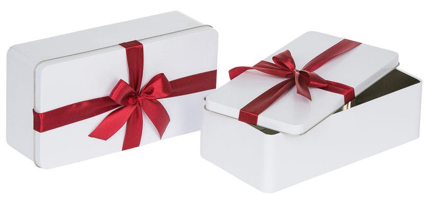 Caja regalo para corbatas con lazo blanca