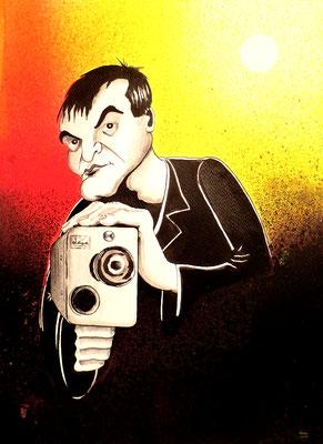 """Karikatur """"Quantin Tarantino"""" _Mischtechnik Tusche - Fixateur"""