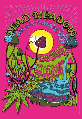 "Plakat für Konzert ""Dead Meadow"" _Tusche - digital koloriert"