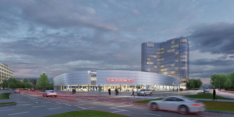 Alstergate, Porsche Niederlassung Hamburg - gmp architekten