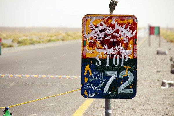 STOP Checkpoint, manchmal mussten wir alle 5 Kilometer anhalten und uns eintragen