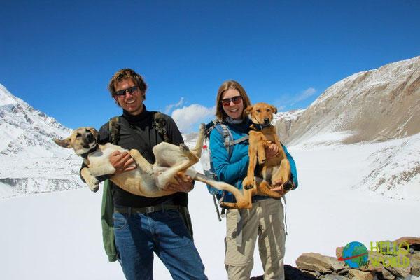 Der höchste Punkt unserer Reise: 5.010m am Tilicho Lake in Nepal