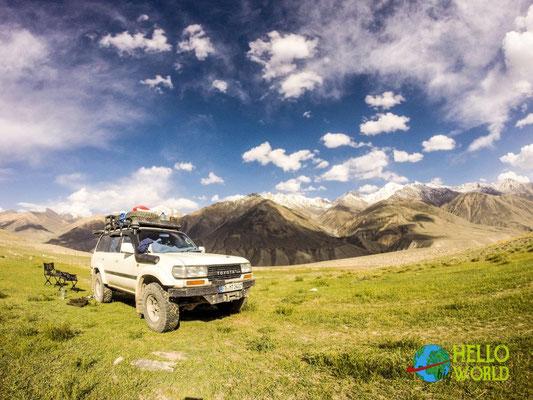 Camp entlang des Pamir Highway