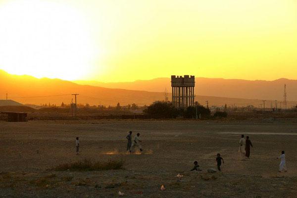 In Quetta übernachteten wir zwei Nächte im abgesperrten Bereich der Polizei, mit diesem Ausblick