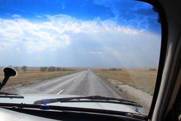 Die Straßen in Kasachstan waren wieder erwarten, in einem sehr guten Zustandf