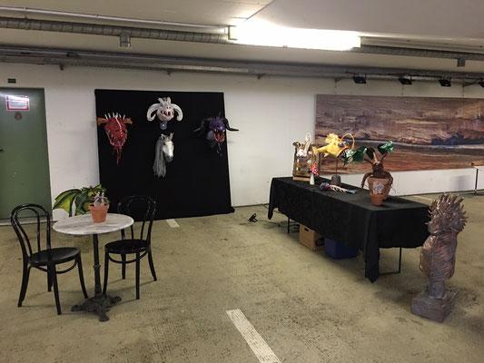 Grötzinger Kulturmeile 2017, Ginas-Pappmache, Drachentrophäen, Fabelwesen, Kunstausstellung, Papermache,