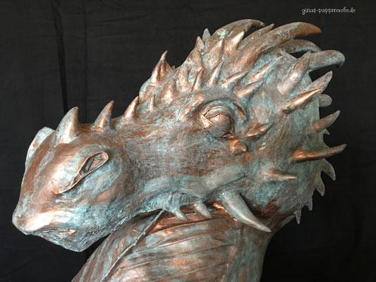 Bronzestatue, Drachenbüste, Drachenkopf, handmade, papermache, pappmache, Kunst, Unikat edel