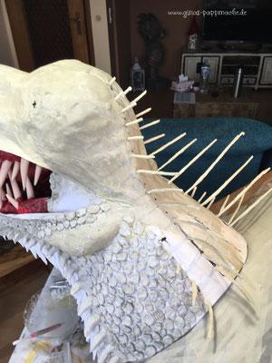Drogon, papermache, papiermache, Drache, Skulptur, handmade, art