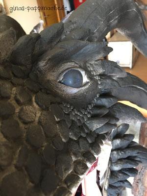 Viserion, ginas-pappmache.de, Dragon, Dragontrophy, art, papermache,
