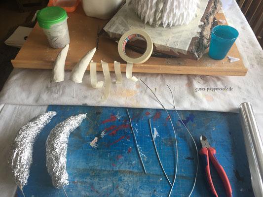 Viserion, papermache, pappmache, papiermache, art, Drachentrophäe