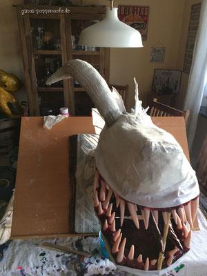 Viserion, papermache, pappmache, papiermache, art, Drachentrophäe,Drache, Skulptur