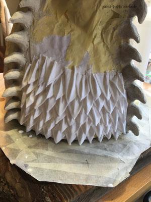 Drogon, papermache, Pappmache, Drachenkopf, Hörner, Trophäe, handmade, Kunst