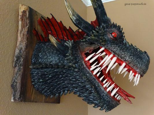 ginas-pappmache.de, Drachentrophäe, papermache, handmade, Drogon
