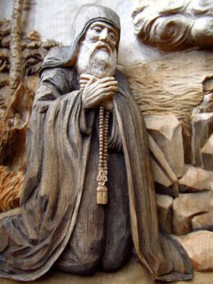 Явление Богоматери на Почаевской горе. Липа. Размер 300х400х65. Резьба по дереву Байкова Михаила.