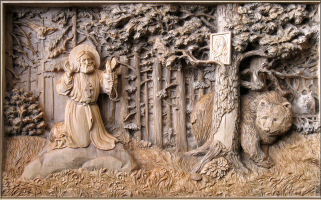 Святой Серафим Саровский в лесу - панно резное деревянное. Оформлено в раму под стекло. Материал: липа, морилка, воск. Резьба по дереву Байкова Михаила.