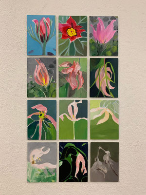 Blühen und verwelken, Acryl auf Panelen, 2020