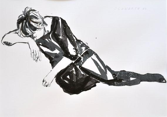 G. schlafend | 2014 | 36 x 51 cm  | Tusche auf Papier