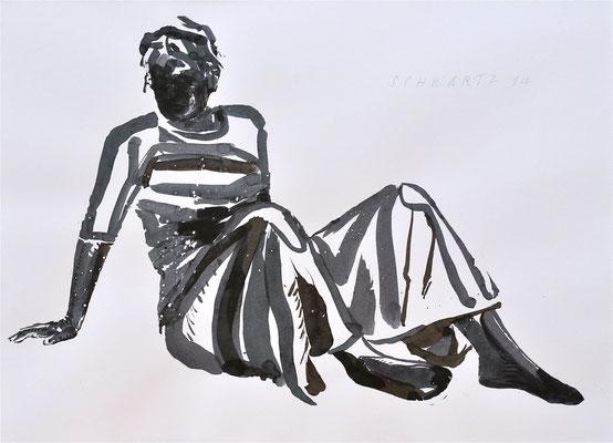 G. erwacht | 2014 | 38 x 52 cm  | Tusche auf Papier