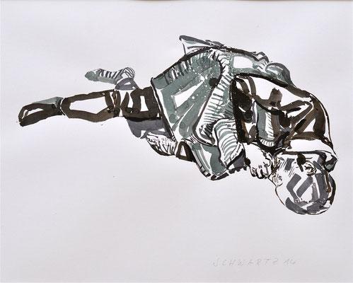 S. schlafend | 2014 | 39 x 49 cm  | Tusche auf Papier