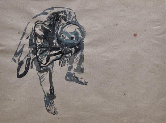 W. schlafend | 2014 | 39 x 52 cm  | Tusche auf Papier