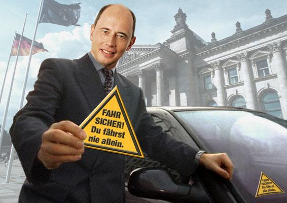 PR-Aktion Kampagnen-Aufkleber an den Ministerdienstwagen