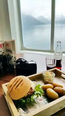 Burger with a scenic view in the board restaurant