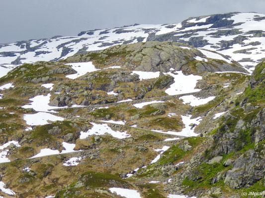 Im nördlichen Teil der Landschaftsroute Ryfylke geht es mit Serpentinen die Berge hinauf
