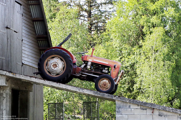Massey Ferguson 35 tractor on a ramp - side view