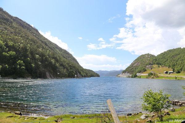 Besonders im südlichen Teil ist die Landschaftsroute Ryfylke mild wie hier an einer bewaldeten Fjordbucht