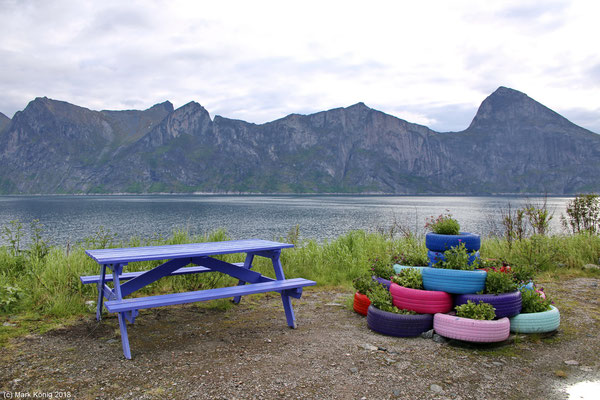 Colorful rest area on Senja's official scenic route