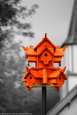 Nesting box in Norwegian stave church design.