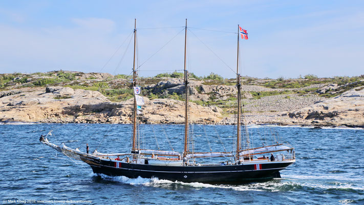 Side view of sailing ship Svanen from Norwegian Maritime Museum under motor close to Swedish port Strömstad on June 28 2018