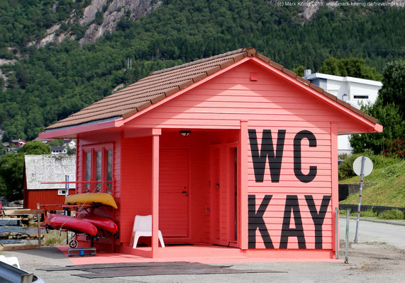"This is not a private WC for a myoptic person named ""Kay"", it is a public WC with a kayak rental in the same tiny building"