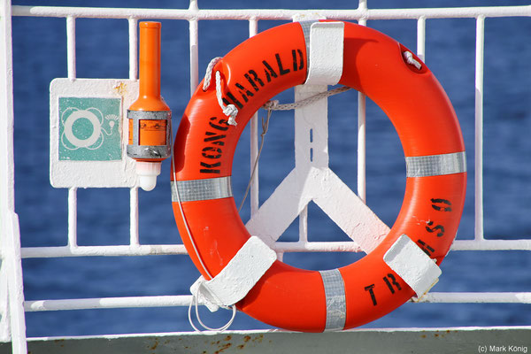 A life belt on the railing is only one of the numerous safety features on board of a coastal vessel