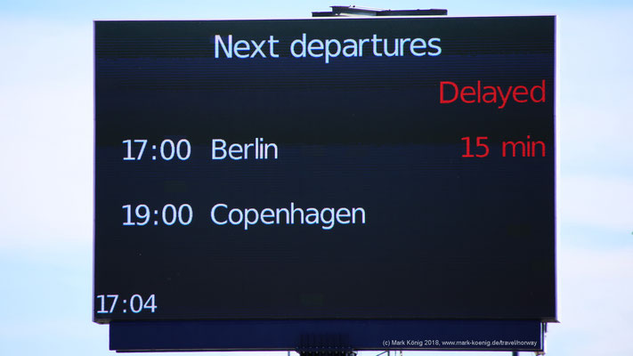 Huge digital display at Scandlines Gedser Terminal shows delay of departure for ferry MV Berlin