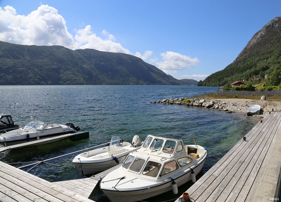 Kleine private Boote liegen am Küstenufer von Årdal (Ryfylke)