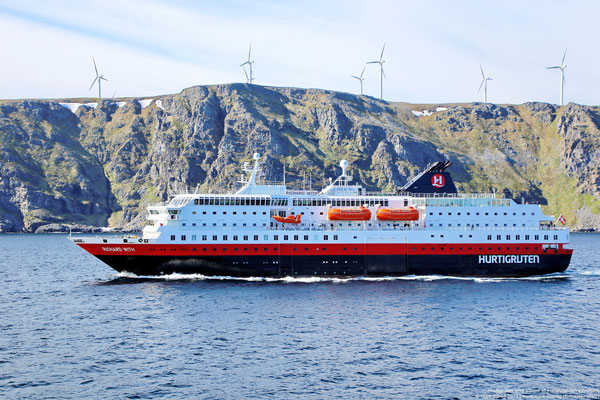 Hurtigruten ship MS Richard With passing Havøygavlen Windpark