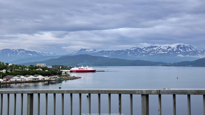 View from Gisundbrua to Finnsnes port with Hurtigruten ship