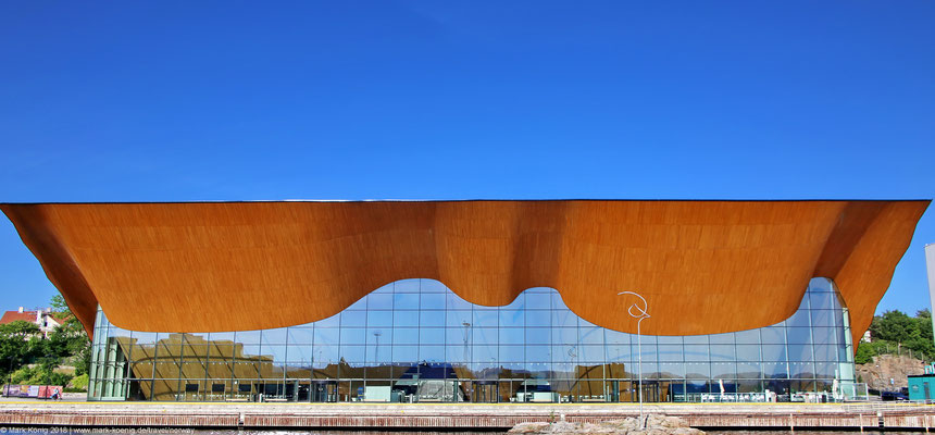 Front view of theatre and opera house in Kristiansand, Norway [Kilden Teater og Konserthus]