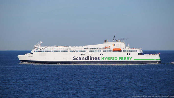 Third ferry: Scandlines ferry MV Copenhagen on encountering way from Rostock to Gedser