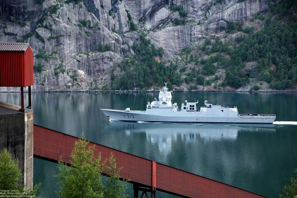 Norwegian Frigate HNoMS Helge Ingstad (F313) in Sørfjord