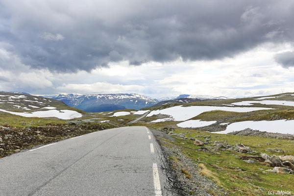 Auf dem Aurlandsfjell: Weder Baum noch Berg schützen vor Wettereinflüssen, dafür ist der Blick sehr weit