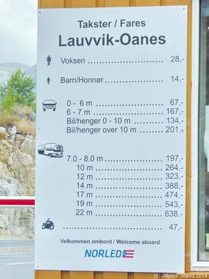 Preistafel der Fähre Lauvvik - Oanes aus dem Jahr 2014: Fahrzeuge und Personen werden einzeln berechnet