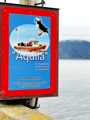 Sign at Runde harbour shows where to find the boat and how to get tickets
