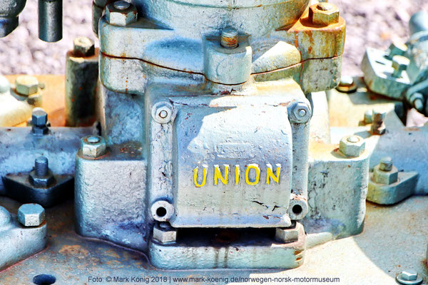 """Union"" logo on an old machine in front of the entrance"